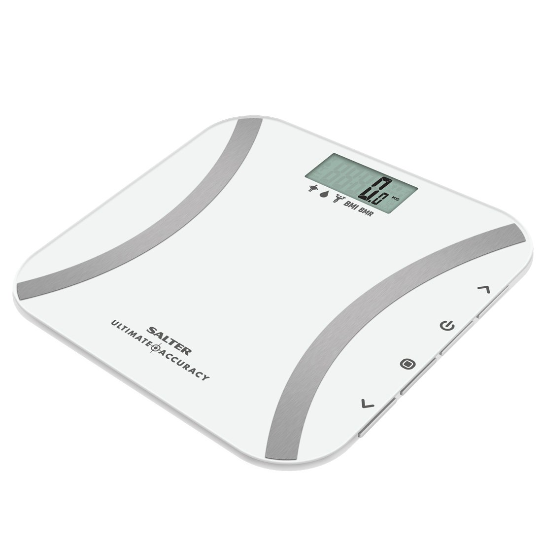 Incrementi di 50 g Funzione memoria per 12 persone Indice di massa corporea BMR Salter Bilancia Pesapersona Analizzatrice Tasso metabolico basale Bianco BMI Garanzia 15 anni