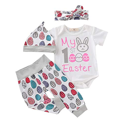 Baby Girl Clothes 4 Pcs My First Easter Baby Gift Girl Outfit Pink My 1st Easter Letter White Short Sleeve Romper Jumpsuit with Rabbit + Cute Easter Eggs Grey Pant Set+ Hat +Bow Headband 6-12 Months ()