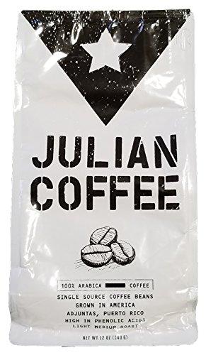 Coffee - Julian Coffee - 100% Specialty Puerto Rican Whole Bean Coffee, Light Medium Roast, 12 oz Bag