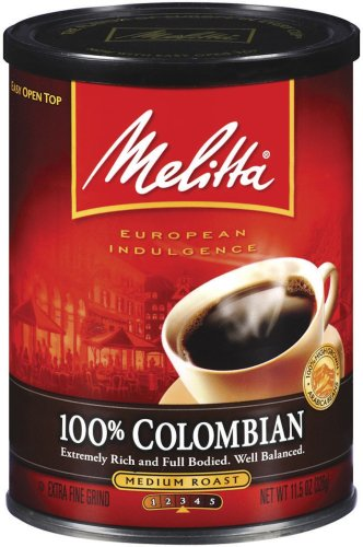 Melitta 100% Colombian Medium Roast Ground Coffee, 11.5-Ounce Cans (Pack of 4) by Melitta