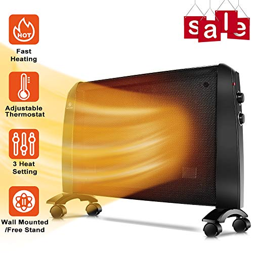 TRUSTECH Mica Heater - 1500W Mica Panel Heater with Adjustable Thermostat, Overheating Auto Shut Off - Quick Heating, Ultra Quiet, Tip-Over Protection, Wall Mount/Free Stand, Universal Wheels, Black
