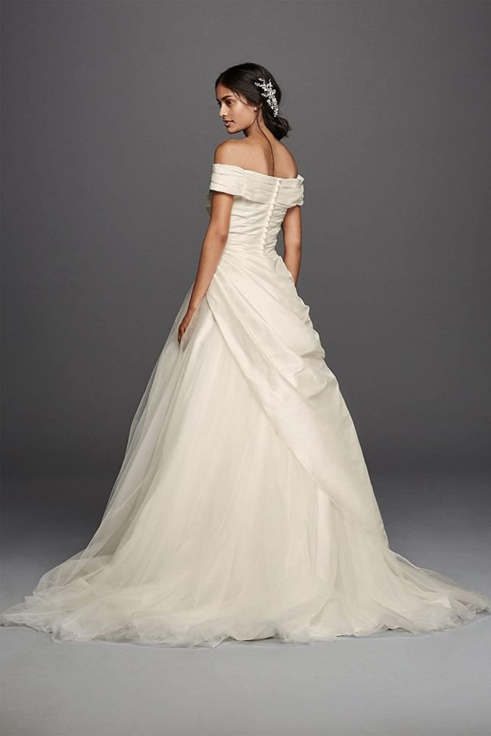 Jewel Taffeta Wedding Dress With Brooch Style WG3796, Ivory, 6 at ...