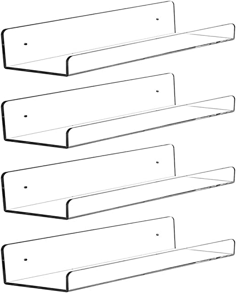 CY craft 4 PCS Clear Acrylic Floating Shelves Display Ledge 5 MM Thick Wall Mou