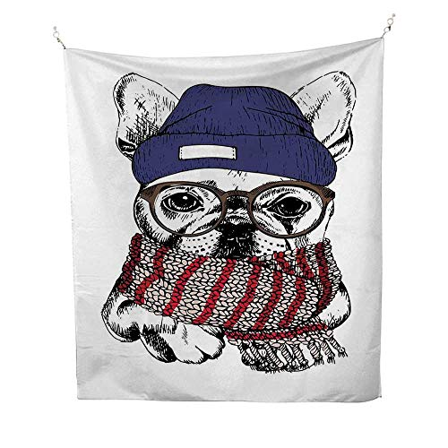Bulldogcool tapestryHand Drawn Style Portrait of Cozy Winter Dog Wearing a Scarf Beanie and Glasses 57W x 74L inch Tapestry for wallMulticolor