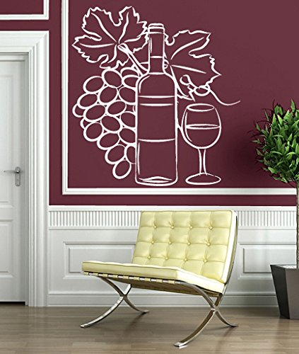Wall Vinyl Sticker Decor Wine Glass Bottle Cluster of Grapes (n179) (n144 M 22.5 in by 28 in (Harmony Glass Clusters)