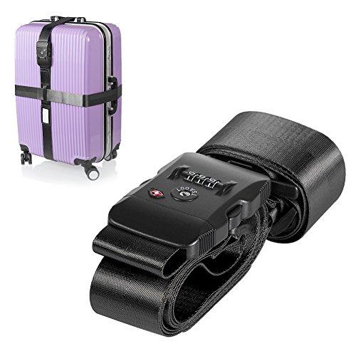 TSA Lock Cross Luggage Strap - Adjustable Duty Travel Belt Use for Suitcase-Lamshine (Black) by Lamshine