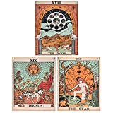 Pack 3 Tarot Tapestry, The Moon, The Star and The