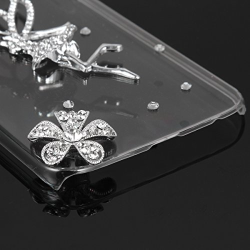 JewelryWe 2 Blumen Engel Strass Handy Case Schutzhülle Tasche Hülle Rückenschutzhülle Etui für Samsung Galaxy S6 Transparent