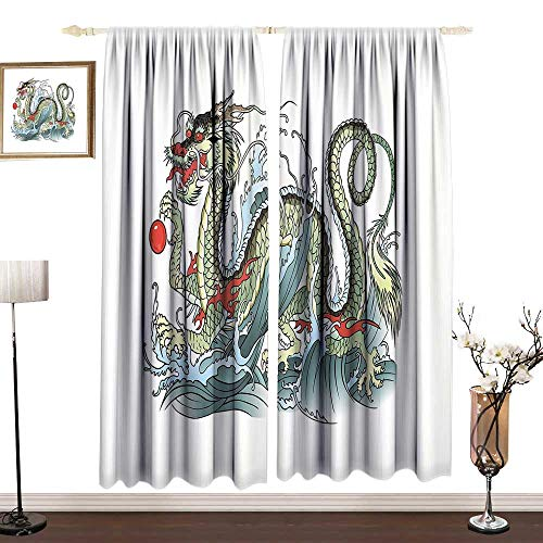 DESPKON-HOME Japanese Dragon Outdoor Curtains for Patio Separate Heating Far Eastern Water Dragon Splashing Waves Legend Creature Party Darkening Curtains W96 x L84 in Pale Green Vermilion Sage