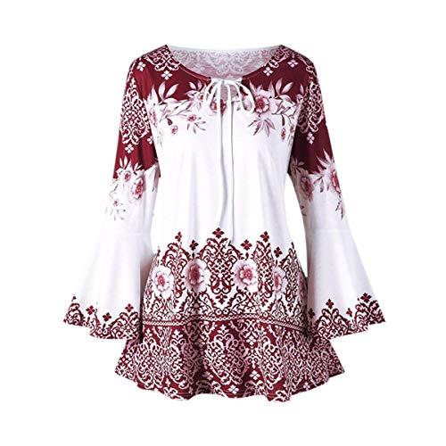 Gadfjuotg Neck Print Manches Blouse Femme Longues Chemisier Red O Vintage Floral w1xFgqZ