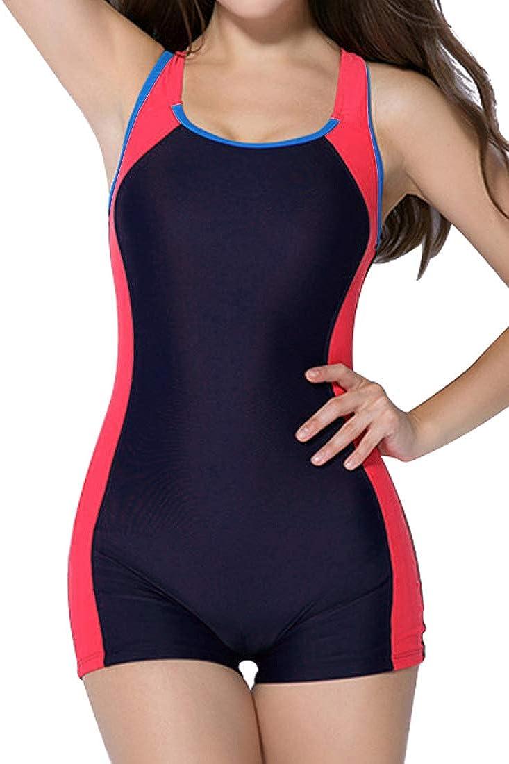 Charmo Damen Badeanzug Boyleg Bauchweg Figurformend Einteiler Slim Bademode Sportlich Schwimmanzug
