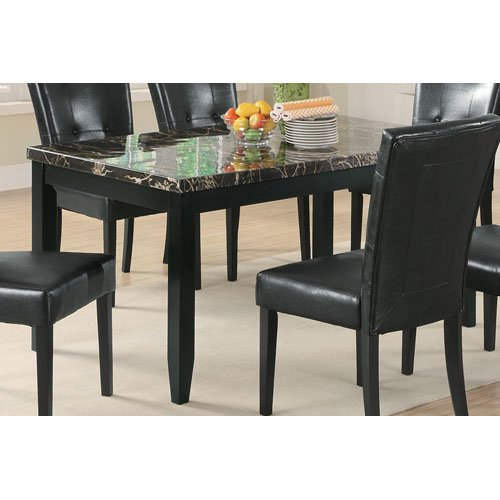 Amazoncom Anisa Dining Table With Faux Stone Top Black Tables