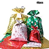Christmas Gift Bags, 40Pcs Santa Wrapping Gift Bag in 4 Sizes and 4 Designs, with Ribbon Ties and Tags: more info