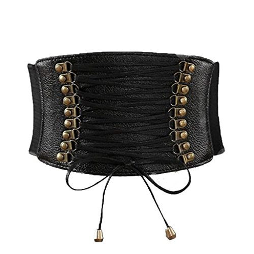 Charming House Womens Vintage Tassels Elastic Wide Waist Belt (Black) (Belted Belt Lace)