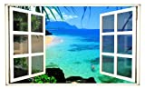 24'' Window Scape Instant View Hawaii Hawaiian Coast 1 Beach Wall Decal Graphic Sticker Mural Home Kids Game Room Office Art Decor