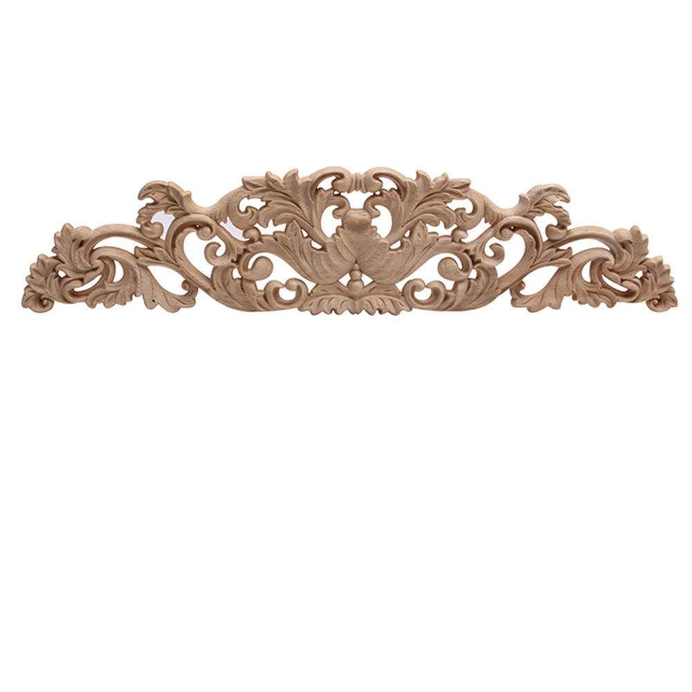Beoot Wood Carved Long Onlay Applique Unpainted Frame Door Wall Home Furniture Decor (08, 50×10cm/19.69×3.94inch)
