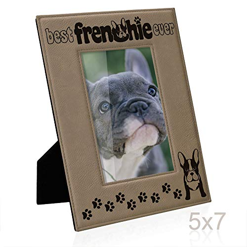 Bulldog Photo Frame - Kate Posh Best Frenchie Ever Engraved Leather Picture Frame, French Bulldog Photo Frame, Pet Memorial Gifts, New Puppy Gifts, Dog Lover Gift, Paw Prints on My Heart (5x7 Vertical)