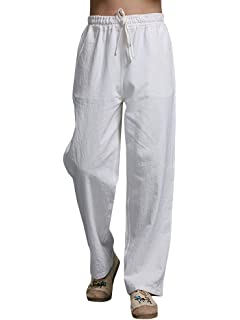 Mens Loose Pants Beach Drawstring Yoga Elasticated Silky Linen Style Trousers