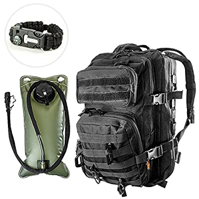 Kragzmen Tactical Backpack 3-Day Assault Pack w/2L Hydration Bladder & Para Cord Survival Bracelet - 45 Liter Military Rucksack (Spec Ops Black) w/Molle Load Bearing Web + D-Rings & Dominators from Kragzmen