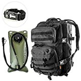 mil spec hydration pack - Tactical Backpack 3-Day Assault Pack w/2L Hydration Bladder & Para Cord Survival Bracelet - 45 Liter Military Rucksack (Spec Ops Black) w/Molle Load Bearing Web Dominators & D-Rings
