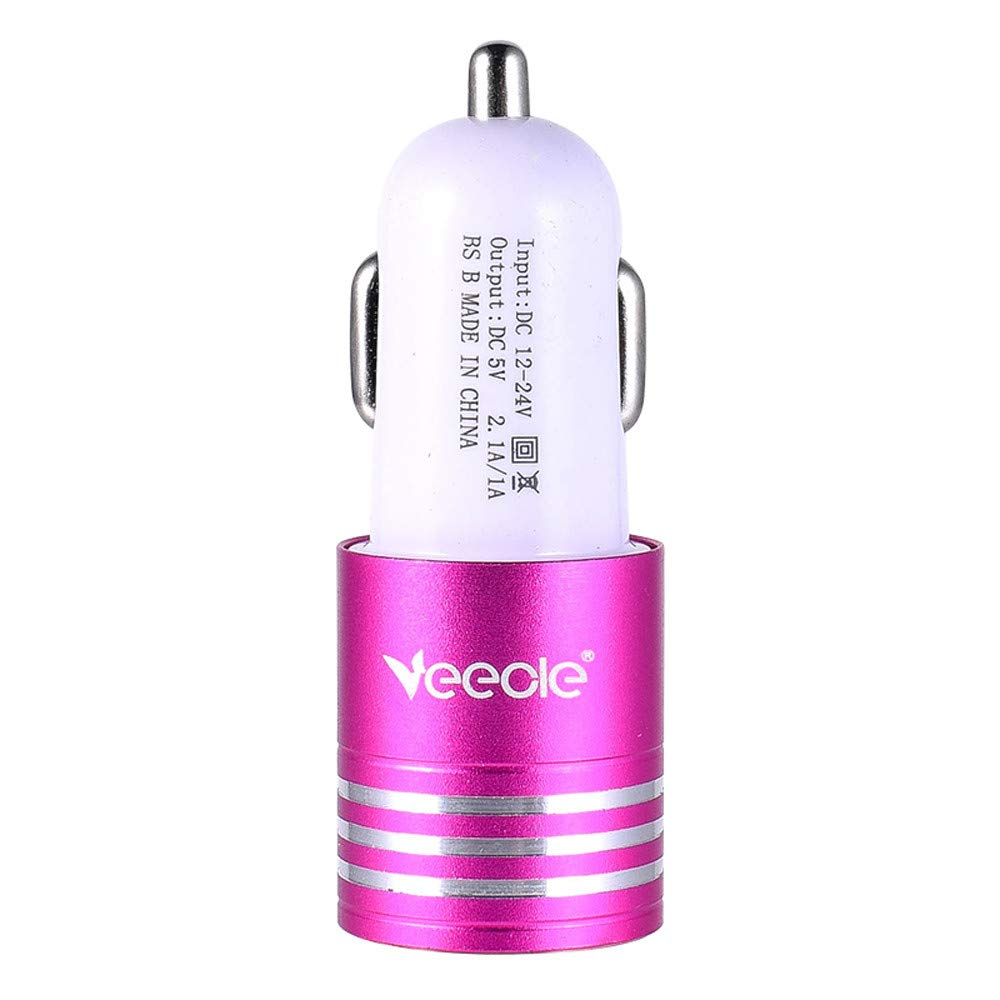XGao Smart Quick Charge Car Charger Dual 2.1A USB Intelligent Compatible Charging Protection Metal Charger (Red)