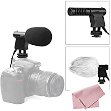 Boya BY-VM01 Pro Video Broadcast Directional Condenser Mini Shotgun Microphone Interview Mic for Nikon D3300 D3400 Canon EOS T6 Sony A9 DSLR Panasonic Pentax Camcorder DV (with Foam & Fur Dual Windshield)