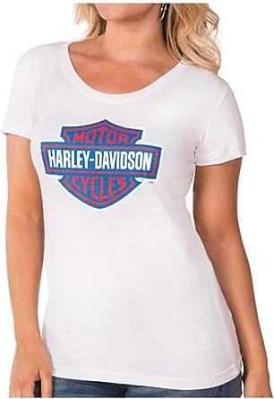 White Harley-Davidson Women/'s RWB Bar /& Shield Logo Short Sleeve Tee