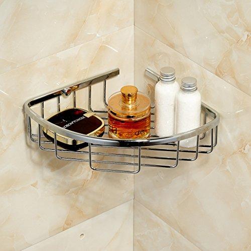 Corner Basket Shelves by MAMOLUX ACC| Solid Brass Shower Basket Shelf Tidy Rack Caddy Storage Organizer Chrome Finish|Space Saving Toiletries/Cosmetics Holder by Marmolux Acc (Image #2)