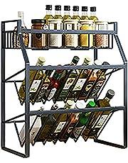 3 våningar kryddhyllor kökshylla rostfritt stål organisatör förvaringshylla svart kryddställ för kryddburkar och diskställ