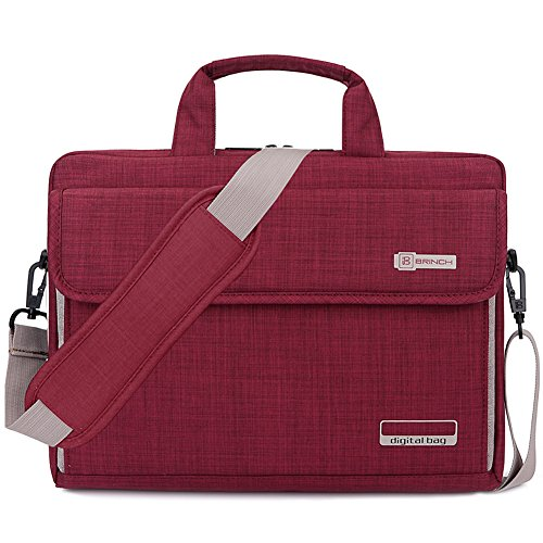 BRINCH Laptop Bag Oxford Fabric Portable Notebook Messenger Bag Shoulder Briefcase Handbag Travel Carrying Sleeve Case w/Shoulder and Luggage Strap for Men Women Compatible 13 Inch Laptop, Red ()