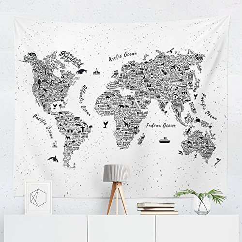 Tapestry Edge - World Map Tapestry - Maps Global Globe Wall Tapestries Hanging Décor Bedroom Dorm College Living Room Home Art Print Decoration Decorative - Printed in the USA - Small Medium Large Sizes
