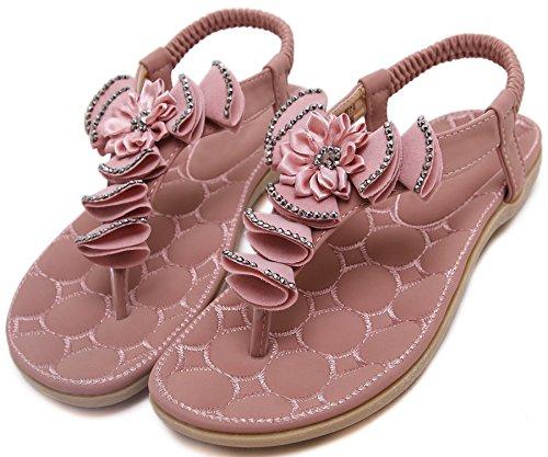 Playa Sandalias Mujer Bohemio Flor Con brillo Rhinestone Soft Elástico Sandalias de BIGTREE Rosa