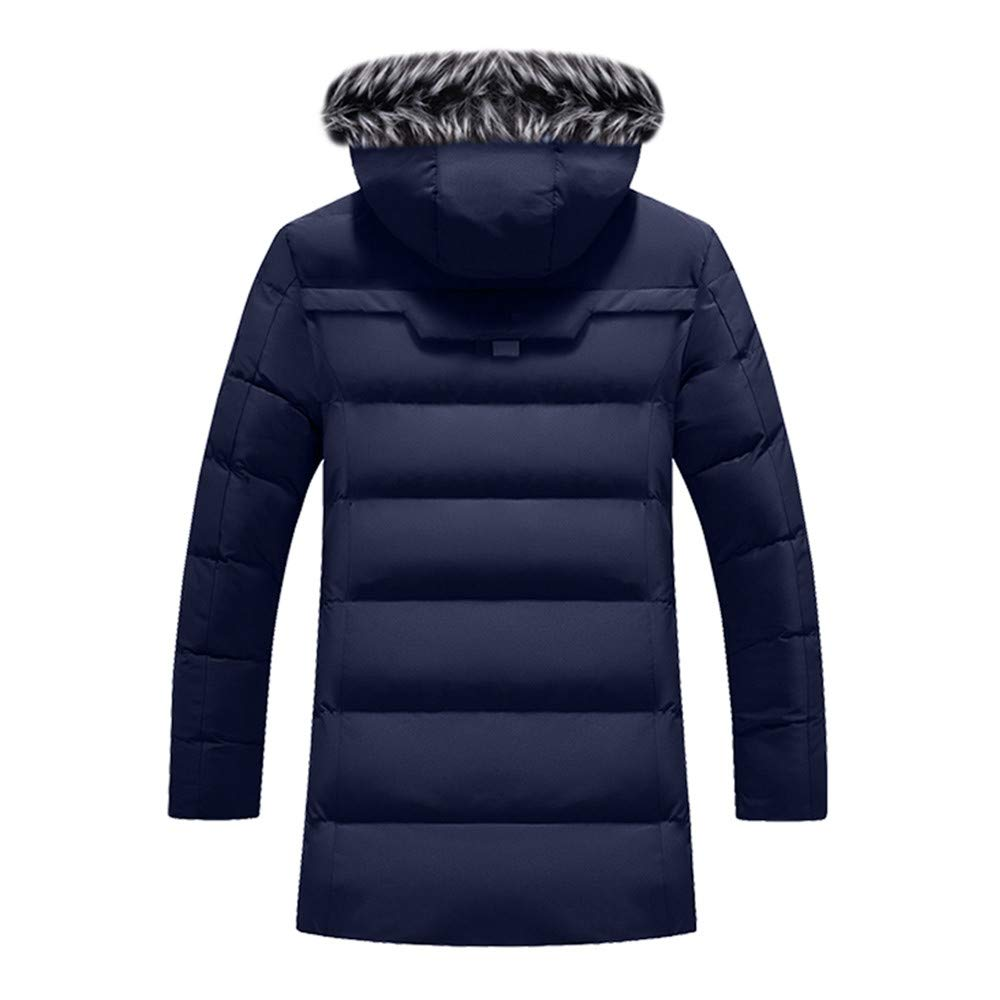 Mens Long Down Jacket,Winter Faux Fur Removable Hooded Quilted Jacket Hood Lined Puffer Outerwear Jacket Zulmaliu