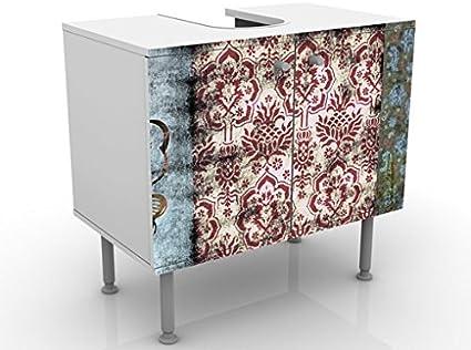 Lavabo Meuble Sous Vasque Design Old Patterns 60x55x35cm Reglable Salle De Bains 60 Cm De Large Table De Lavabo Armoire De Lavabo Petit Meuble Bas Armoire De Salle Bains Baignoire Meubles De