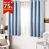 Freelife Room Darkening Grommet Blackout Window Curtain For Bedroom Or Living Room 2 Panels(52 by 63inch, Blue)
