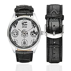 Airplane Decor Casual Leather Strap Watch,Airplane Emblems Labels Badges Design Elements Aviation Stamps Logotype Propeller Decorative for Men,Case Diameter:1.57