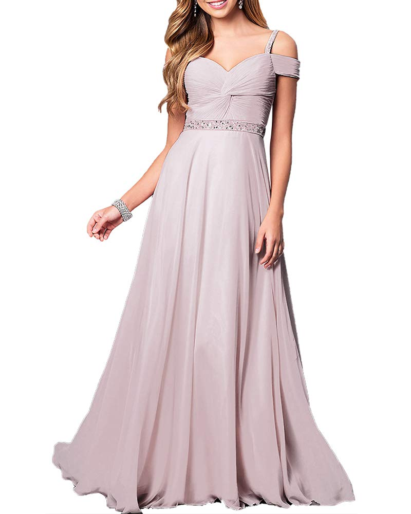 Aofur New Lace Long Chiffon Formal Evening Bridesmaid Dresses Maxi Party  Ball Prom Gown Dress Plus Size (Small, Light Purple)
