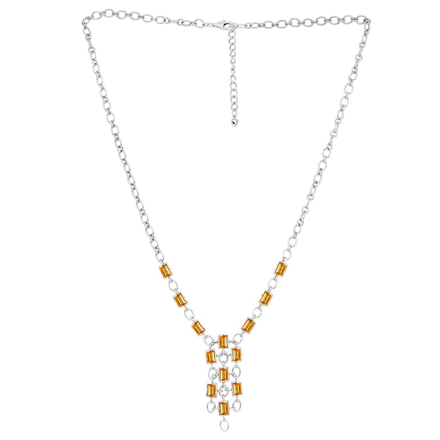 13 Ct Citrine Solid Sterling Silver Statement Necklace Natural Golden Orange 13ct Jewelry