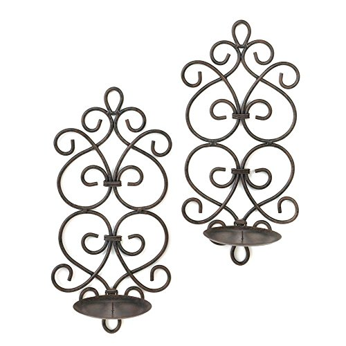 F.A. Decors Tuscan Mediterranean Scroll Work Metal Candle Wall (Scroll Candle)
