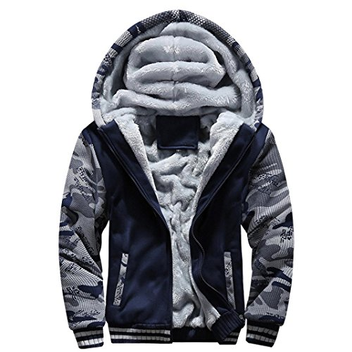 Men Coats And Jackets Winter Sale Warm Fleece Hood Zipper Sweater Outwear Sweatshirts For Men By Orangeskycn (Blue, XL) (Para Hombres)