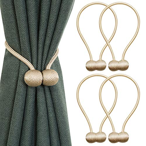 Cadrim Curtain Tiebacks, 4 Pack Magnetic Curtain Tie Backs and Decorative Holdbacks for Holding Drape (Beige)