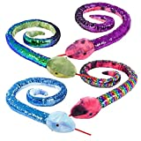 Srenta Huge 67' Reversible Sequined Snake Plush Stuffed Animal Toy, Awesome Gift for Kids, Assorted Colors