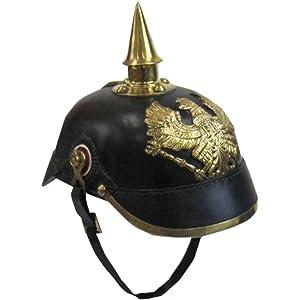 Handtooled Handcrafted Faux Leather Pickelhaube Helmet