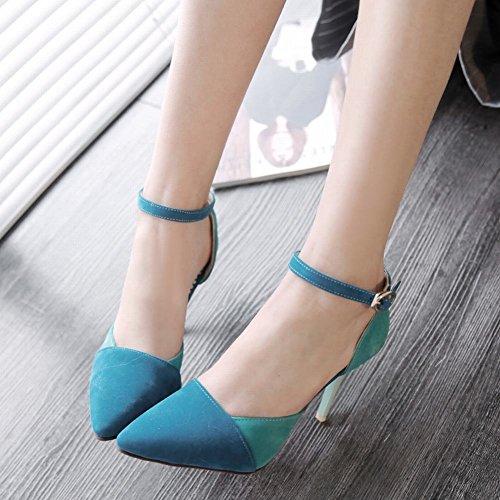 Charm Foot Womens Hit Colore High Heel Mary Jane Pumps Scarpe Blu