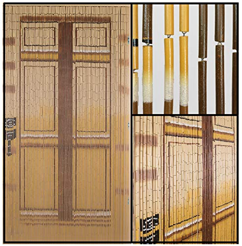 - BeadedString Natural Bamboo Wood Beaded Curtain-90 Strands-78 (6.5 ft) High-Boho Door Beads-Bohemian Doorway Curtain-Brown Door