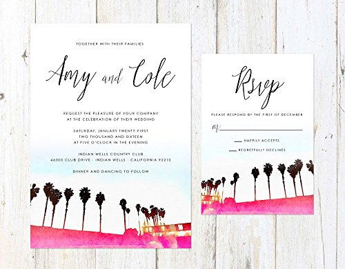 Palm Springs Wedding Invitation, California Wedding Invitation, Palm Trees Invite, Pink Palm Trees
