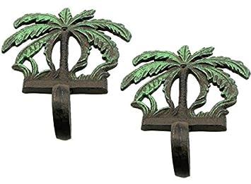 Amazon.com: 2, diseño rústico Hierro fundido Palmera Océano ...