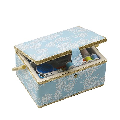 Sewing Basket Craft Sewing Storage Box - Includes Sewing Kit Accessories/Removable Tray/Handle/ Built-in Pin Cushion & Interior Pocket - Flower - Large 12.2 x 9.2 x 6.7 inches - by D&D Design by D&D
