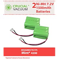 2 Replacements for iRobot Mint 7.2v 1500mAh Batteries Fit 4200, 4205, Braava 320 & 321, Compatible With Part # 4408927, Long Lasting & Rechargeable, by Think Crucial