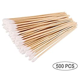 500PCS Cotton Swabs For Beauty Personal Care – 6″ Long Cotton Tipped – Applicator Sticks W/Wooden Handle, Cleaning Detailing Stick Tool For Model Making, Ceramics, Jewelry, Fabric Decor Hobby